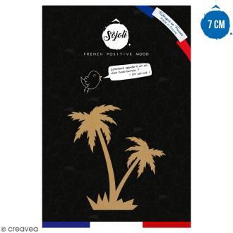 Double palmier en bois à décorer - 7 cm - Collection Summer