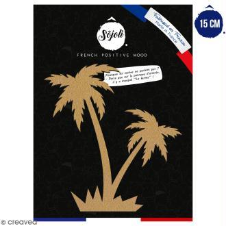 Double palmier en bois à décorer - 15 cm - Collection Summer