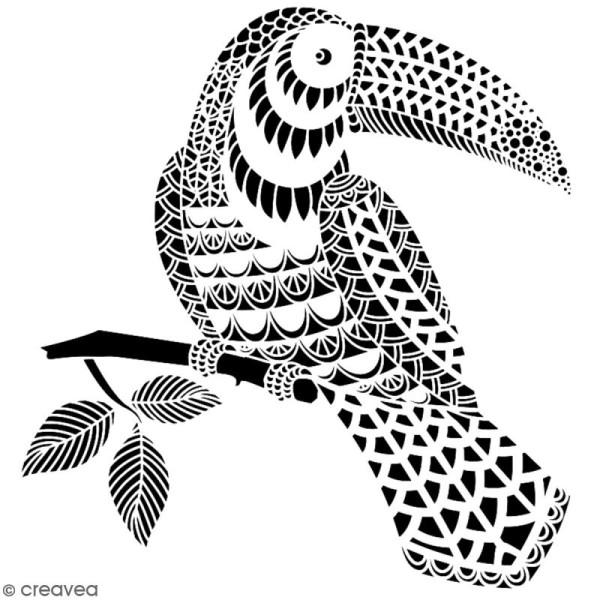 Pochoir multiusage A4 - Toucan dentelle - 1 planche - Collection Summer - Photo n°2