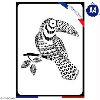 Pochoir multiusage A4 - Toucan dentelle - 1 planche - Collection Summer