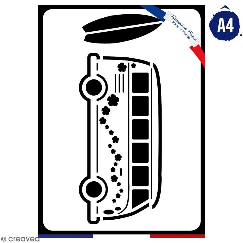 Pochoir multiusage A4 - Van fleuri - 1 planche - Collection Summer - Photo n°1