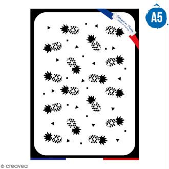 Pochoir multiusage A5 - Motif ananas - 1 planche - Collection Summer