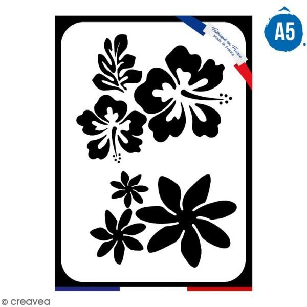 Pochoir multiusage A5 - Fleur de tiaré - 1 planche - Collection Summer - Photo n°1
