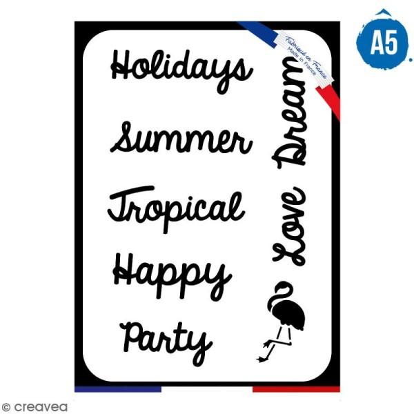 Pochoir multiusage A5 - Mots été - 1 planche - Collection Summer - Photo n°1