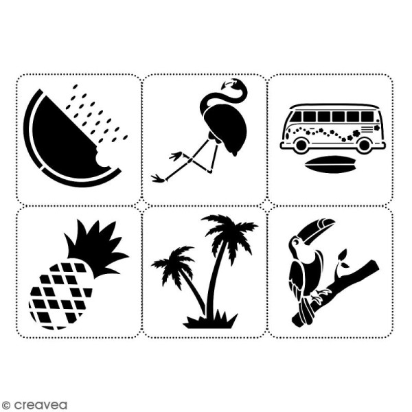 Planche de pochoirs multiusage A4 - Van, flamingo, ananas - 6 Motifs - Collection Summer - Photo n°2