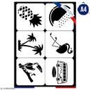 Planche de pochoirs multiusage A4 - Van, flamingo, ananas - 6 Motifs - Collection Summer