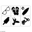 Planche de pochoirs multiusage A4 - Scooter, lunettes, tongs - 6 Motifs - Collection Summer - Photo n°2