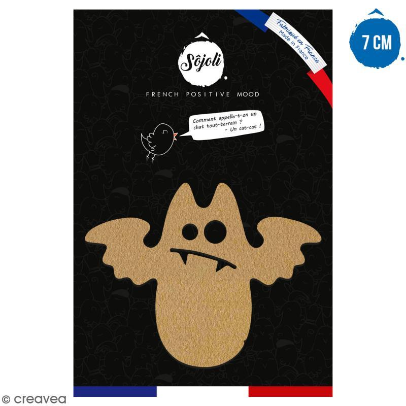 Chauve-souris cartoon en bois à décorer - 7 cm - Collection Halloween - Photo n°1