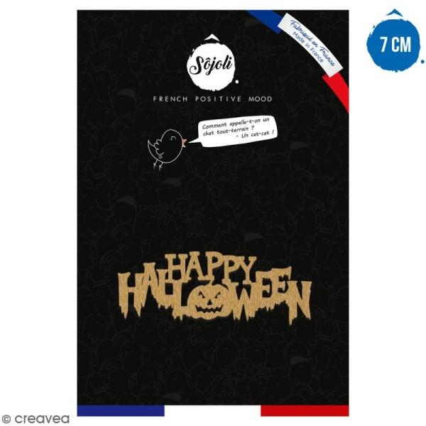 Happy Halloween en bois à décorer - 7 cm - Collection Halloween - Photo n°1