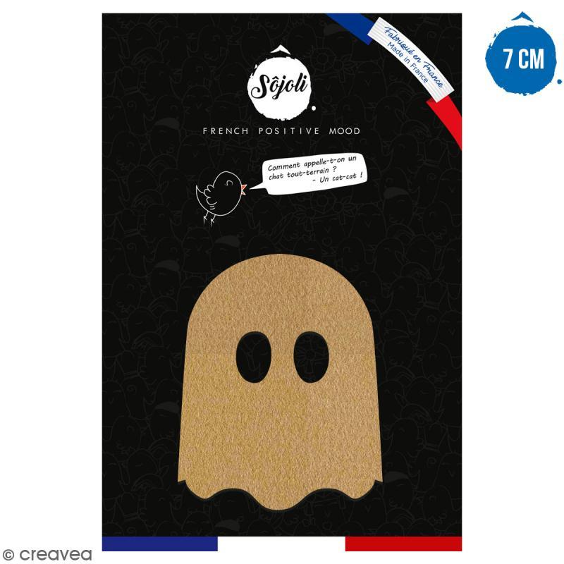 Fantôme cartoon en bois à décorer - 7 cm - Collection Halloween - Photo n°1