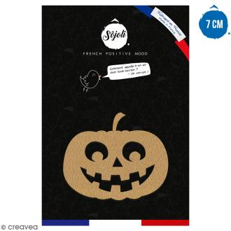 Citrouille Kawaii en bois à décorer - 7 cm - Collection Halloween