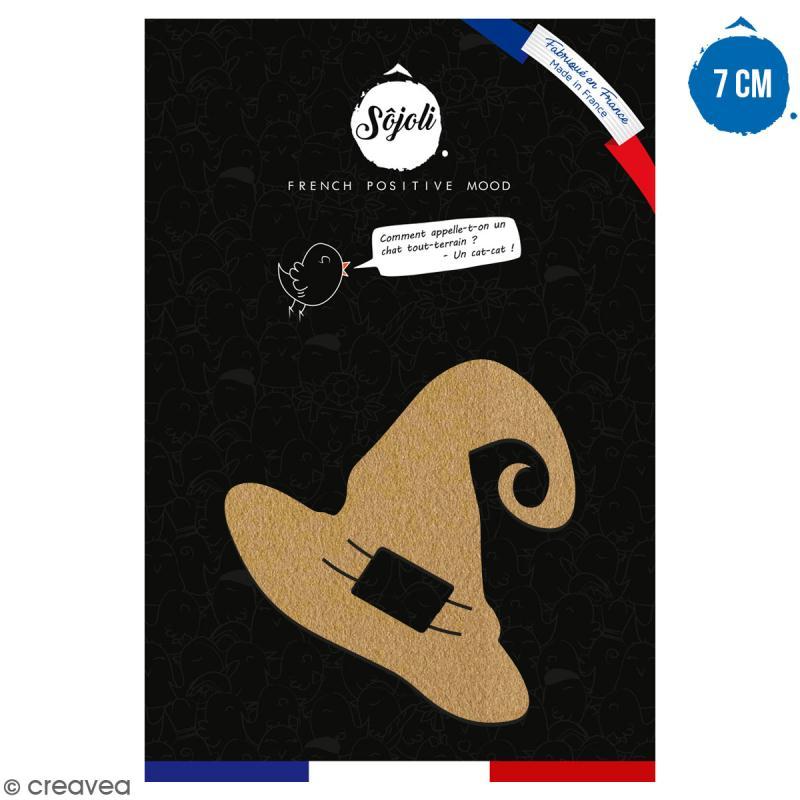 Chapeau de sorcière en bois à décorer - 7 cm - Collection Halloween - Photo n°1