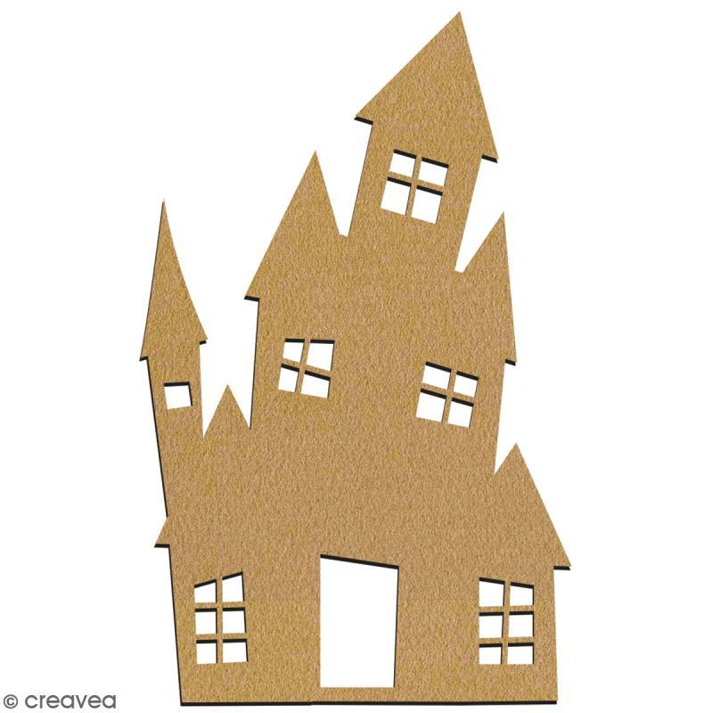 Manoir hanté en bois à décorer - 7 cm - Collection Halloween - Photo n°2