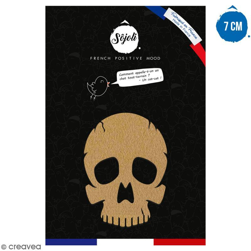 Tête de mort en bois à décorer - 7 cm - Collection Halloween - Photo n°1