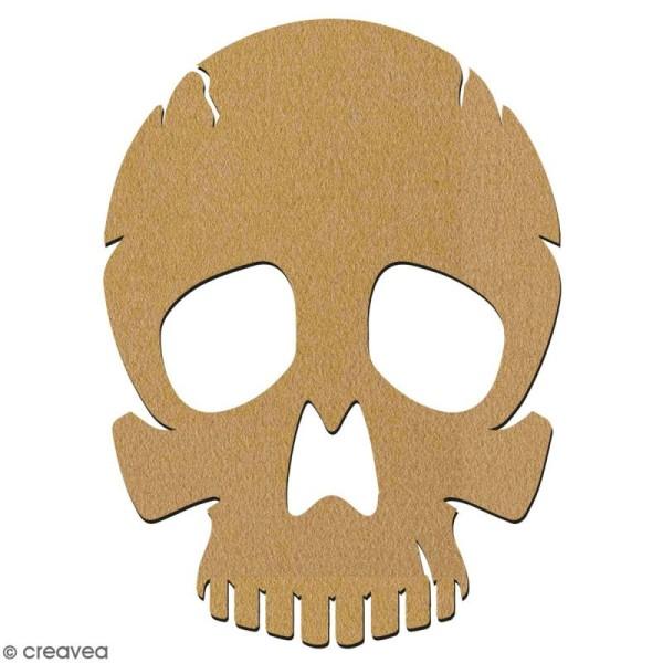 Tête de mort en bois à décorer - 7 cm - Collection Halloween - Photo n°2