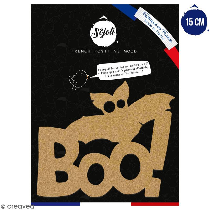 Boo en bois à décorer - 15 cm - Collection Halloween - Photo n°1