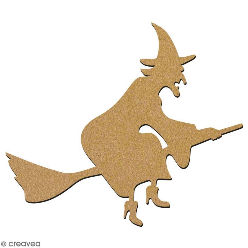 Sorcière sur son balai en bois à décorer - 15 cm - Collection Halloween - Photo n°2