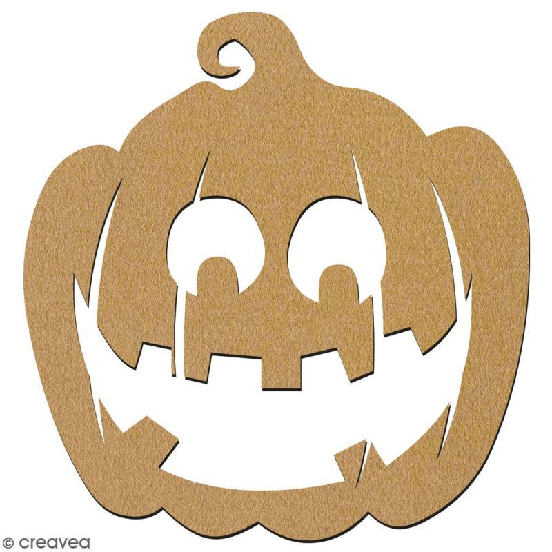 Citrouille sourire en bois à décorer - 15 cm - Collection Halloween - Photo n°2