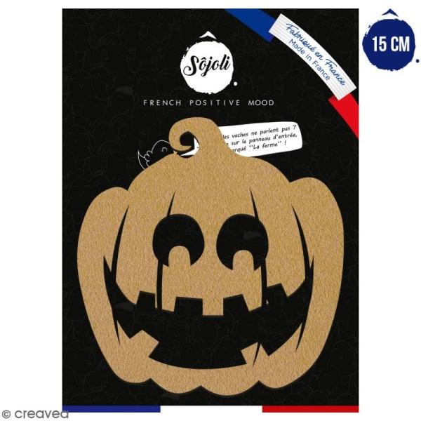 Citrouille sourire en bois à décorer - 15 cm - Collection Halloween - Photo n°1