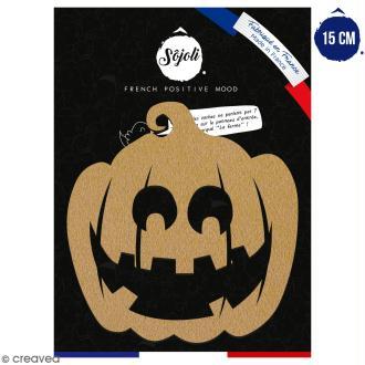 Citrouille sourire en bois à décorer - 15 cm - Collection Halloween