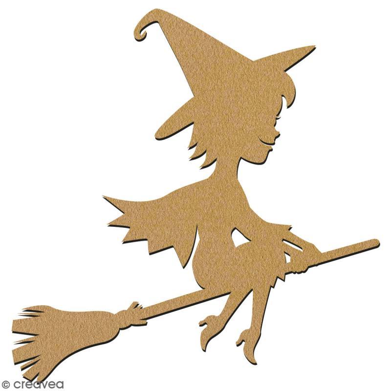 Sorcière cartoon en bois à décorer - 15 cm - Collection Halloween - Photo n°2