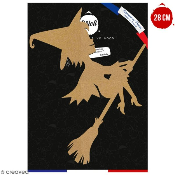 Sorcière cartoon en bois à décorer - 28 cm - Collection Halloween - Photo n°1