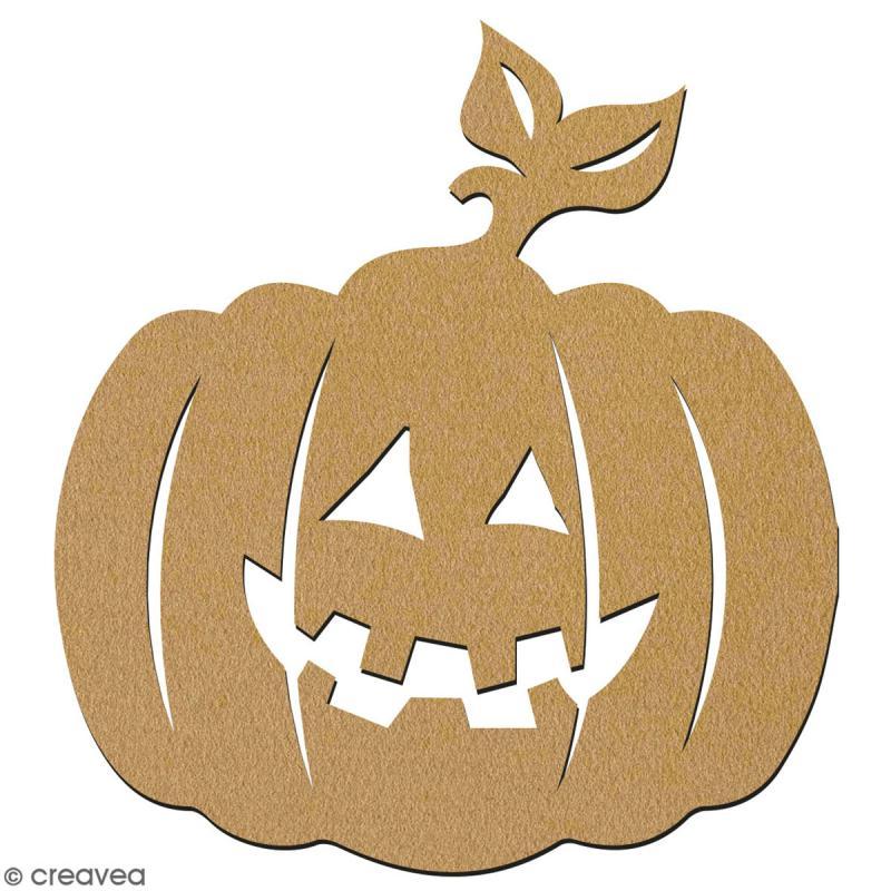 Citrouille à feuille en bois à décorer - 28 cm - Collection Halloween - Photo n°2