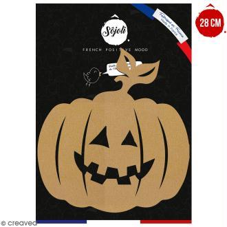 Citrouille à feuille en bois à décorer - 28 cm - Collection Halloween