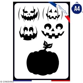 Pochoir multiusage A4 - Citrouille - 1 planche - Collection Halloween