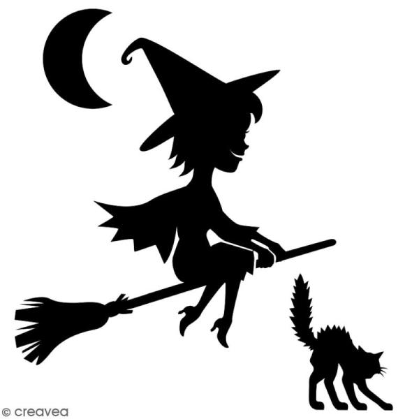 Pochoir multiusage A4 - Sorcière cartoon - 1 planche - Collection Halloween - Photo n°2