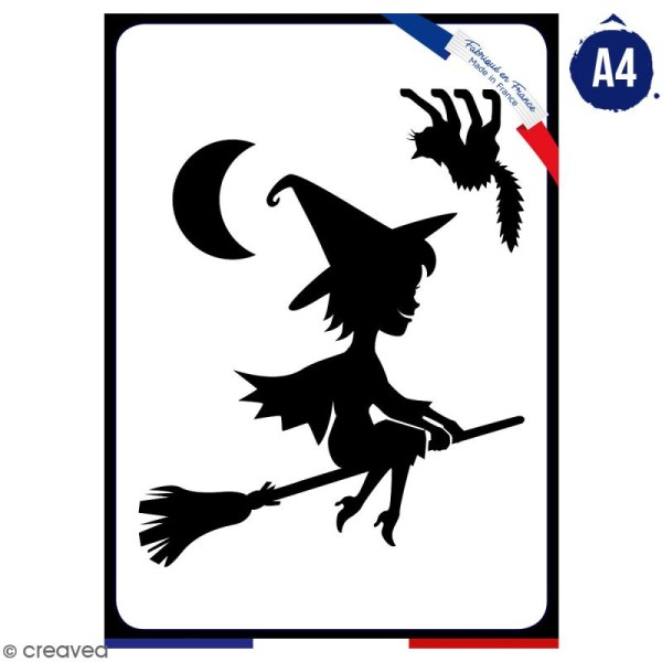 Pochoir multiusage A4 - Sorcière cartoon - 1 planche - Collection Halloween - Photo n°1