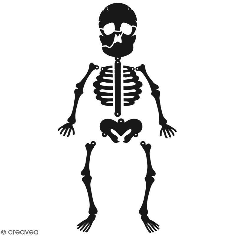 Pochoir multiusage A5 - Squelette - 1 planche - Collection Halloween - Photo n°2