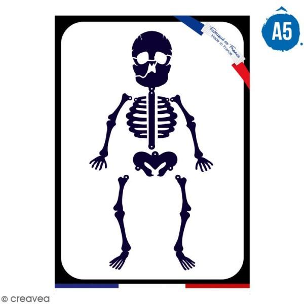 Pochoir multiusage A5 - Squelette - 1 planche - Collection Halloween - Photo n°1