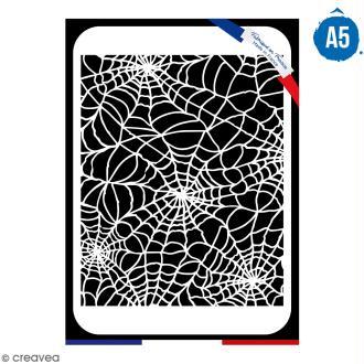 Pochoir multiusage A5 - Motif toile d'araignée - 1 planche - Collection