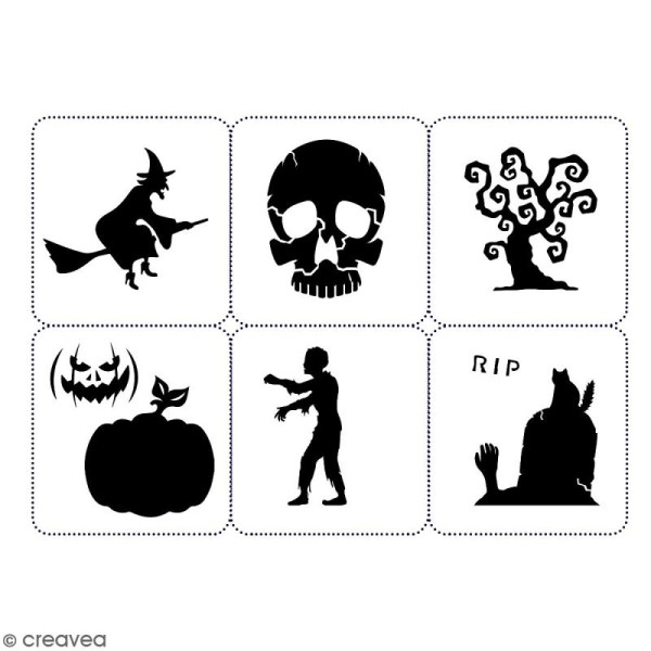 Planche de pochoirs multiusage A4 - Collection Halloween - Halloween - 6 Motifs - Photo n°2