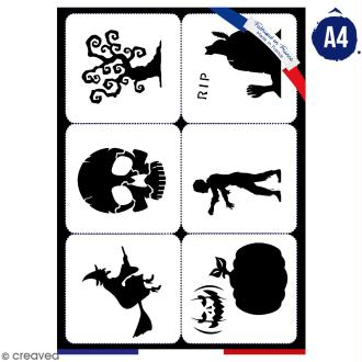 Planche de pochoirs multiusage A4 - Collection Halloween - Halloween - 6 Motifs