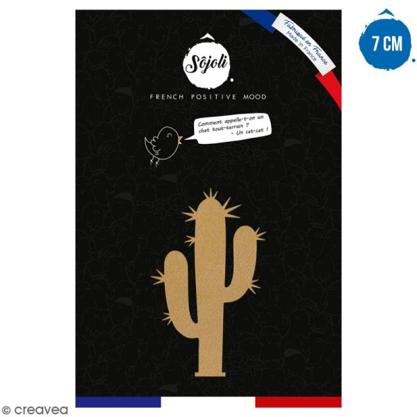 Cactus bras piquant en bois à décorer - 7 cm - Collection Lama / Cactus - Photo n°1