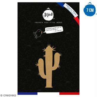 Cactus bras piquant en bois à décorer - 7 cm - Collection Lama / Cactus