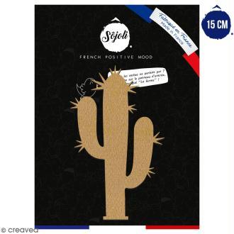 Cactus bras piquant en bois à décorer - 15 cm - Collection Lama / Cactus