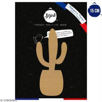 Cactus saguaro en bois à décorer - 15 cm - Collection Lama / Cactus