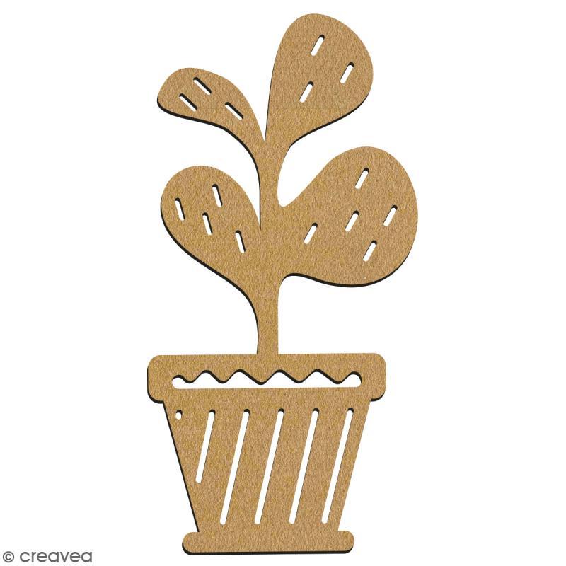 Trèfle en pot en bois à décorer - 28 cm - Collection Lama / Cactus - Photo n°2