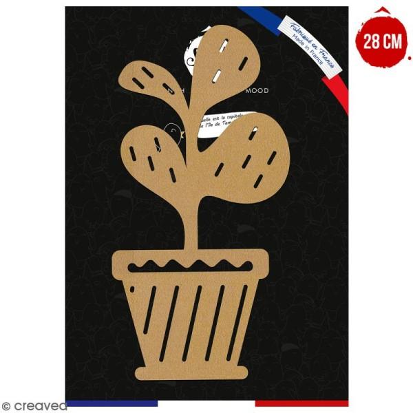 Trèfle en pot en bois à décorer - 28 cm - Collection Lama / Cactus - Photo n°1