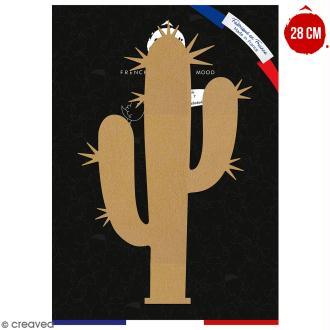 Cactus bras piquant en bois à décorer - 28 cm - Collection Lama / Cactus