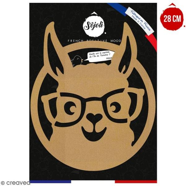 Lama à lunettes en bois à décorer - 28 cm - Collection Lama / Cactus - Photo n°1