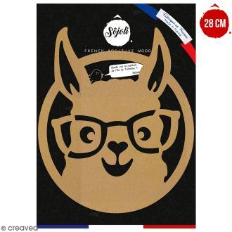Lama à lunettes en bois à décorer - 28 cm - Collection Lama / Cactus