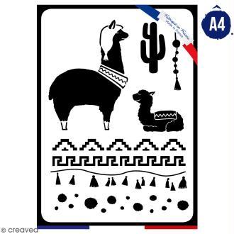 Pochoir multiusage A4 - Famille lama - 1 planche - Collection Lama / Cactus