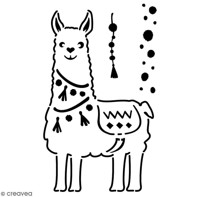 Pochoir multiusage A4 - Collection Lama / Cactus - Lama à pompons - 1 planche - Photo n°2