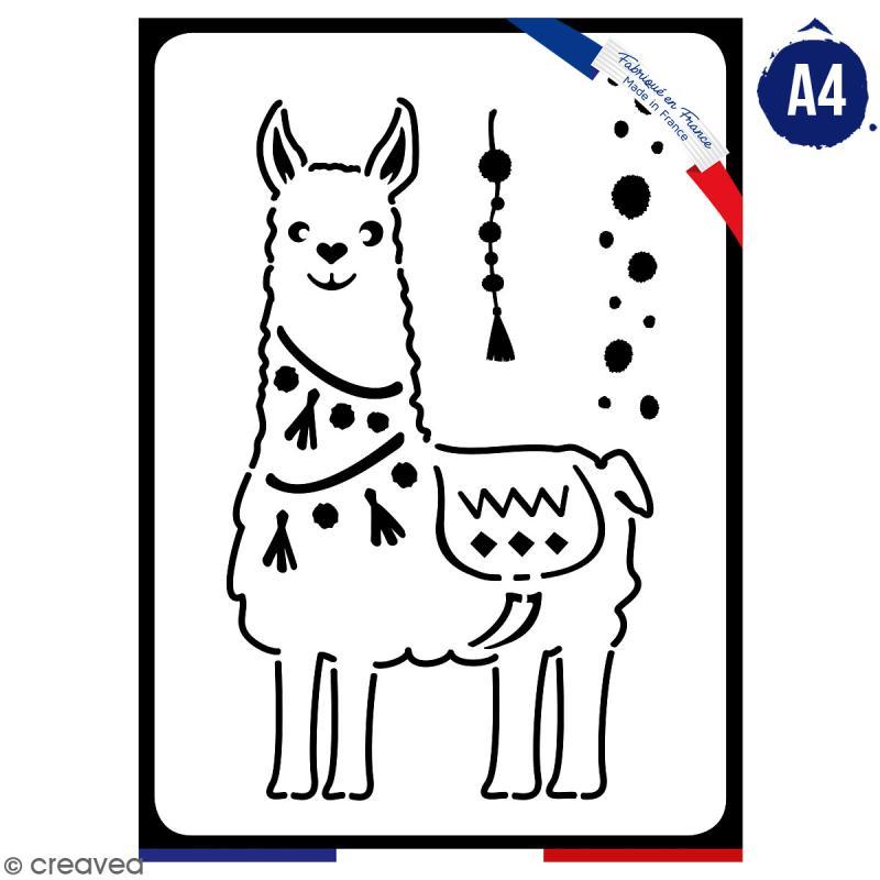 Pochoir multiusage A4 - Collection Lama / Cactus - Lama à pompons - 1 planche - Photo n°1