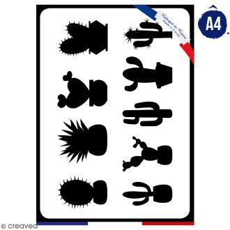 Pochoir multiusage A4 - Famille cactus - 1 planche - Collection Lama / Cactus