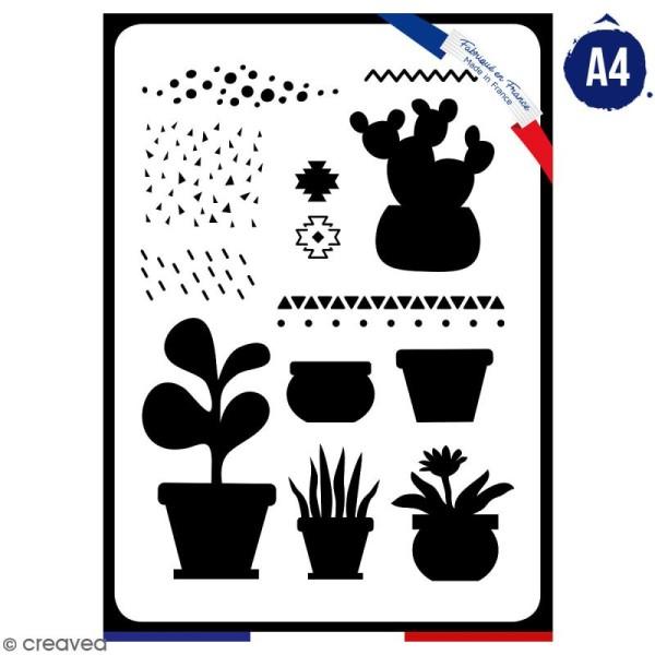 Pochoir multiusage A4 - Plantes grasses - 1 planche - Collection Lama / Cactus - Photo n°1